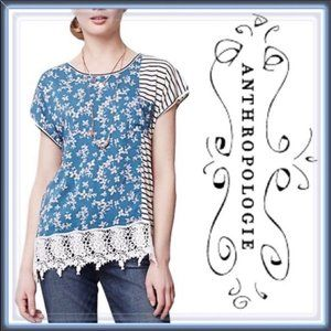 Anthropologie Tiny Interlude Floral & Stripe Top